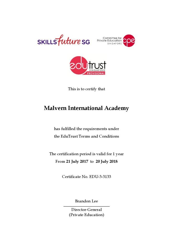 Edutrust Certification Malvern International