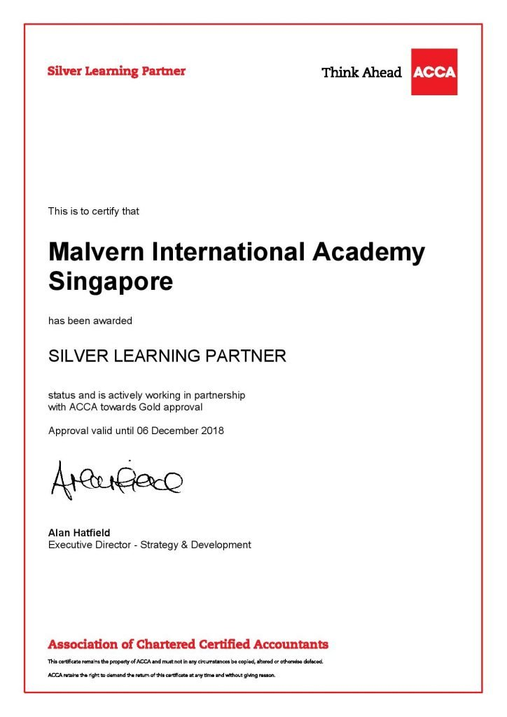 Malvern International ACCA Silver Learning Partner Certificate
