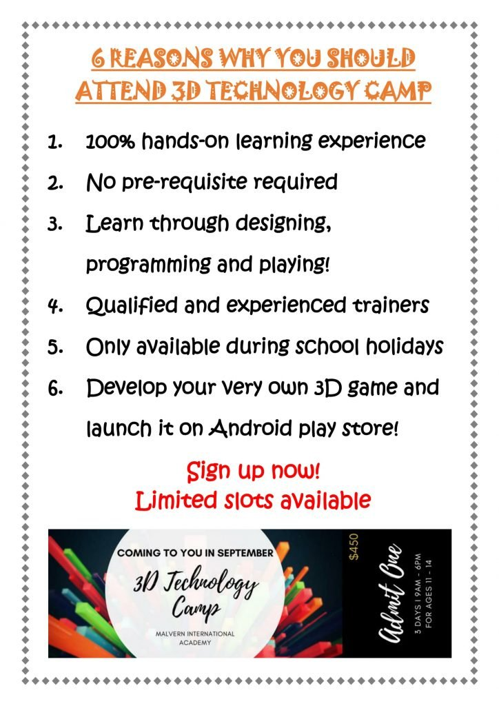 3D technology camp Singapore